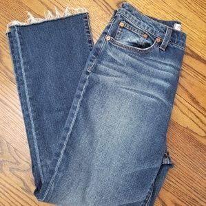 Madewell Hi Rise Crop Flare Jean Raw Edge Size 28